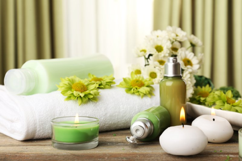 flowers and towel in spa